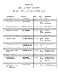 Program absolventského koncertu